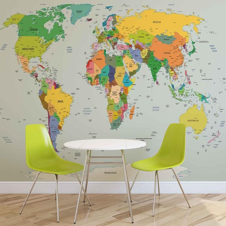 Mapa Sveta Fototapeta Tapeta Na Zed Na Posters Cz