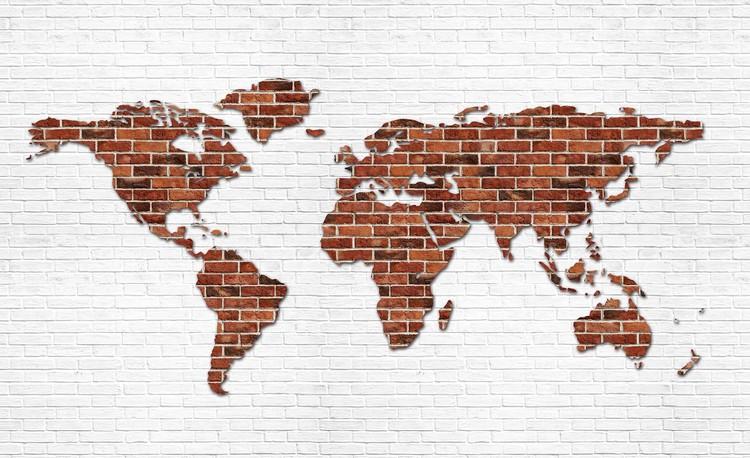 Fototapeta Mapa světa - cihlová stěna
