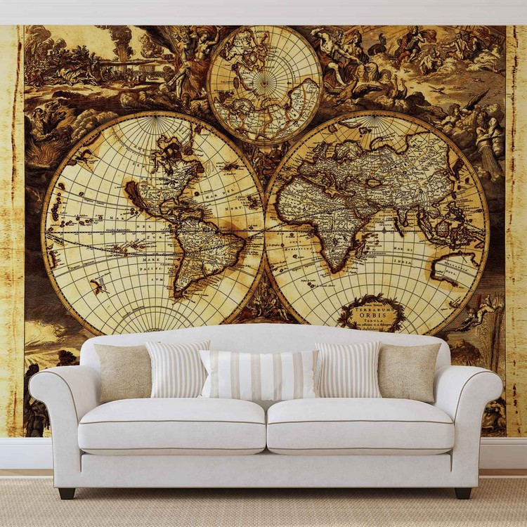 Mapa świata Vintage Fototapeta