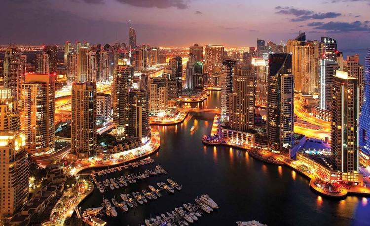 Fototapeta  Město Dubaj - noční přístav