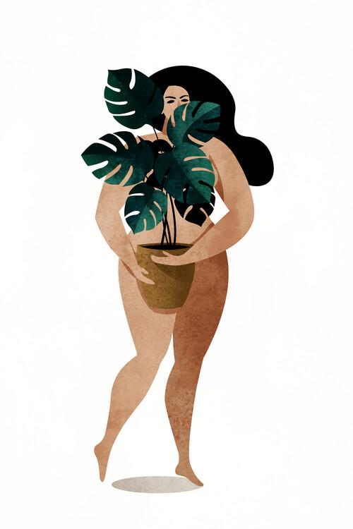Fototapeta Nude With Plant