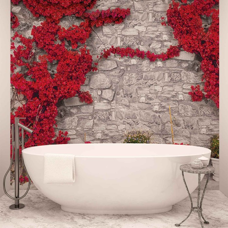 Red Flowers Stone Wall Fototapeta