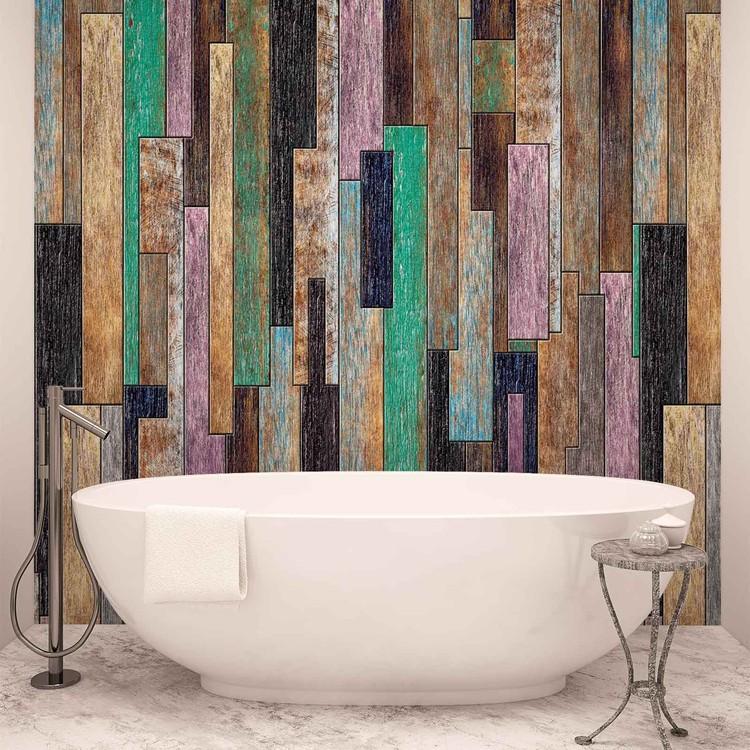 Rustykalny wzór - kolorowe drewniane panele Fototapeta