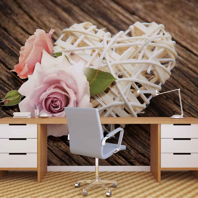 Fototapeta  Růžová růže, srdce