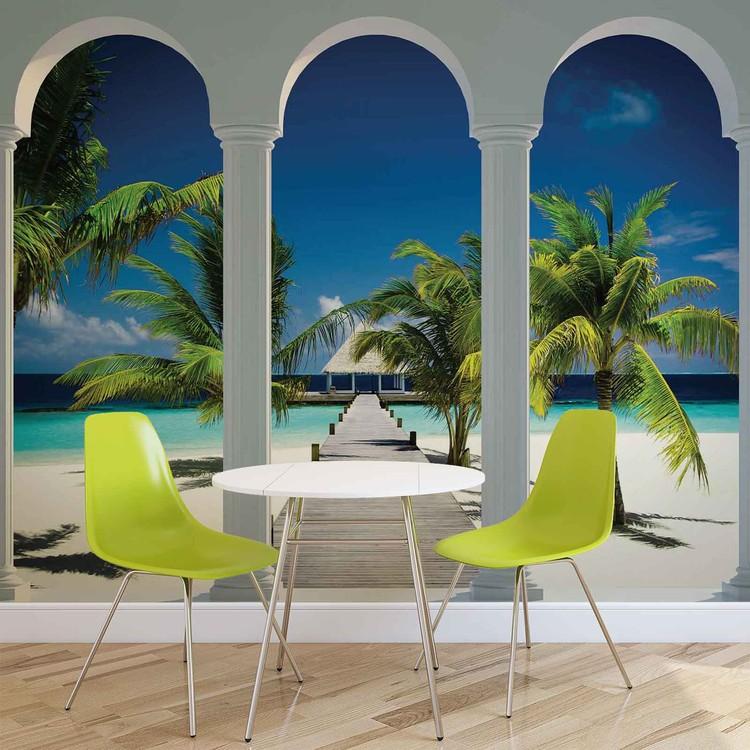 Fototapeta  Tropická pláž, exotika, palmy