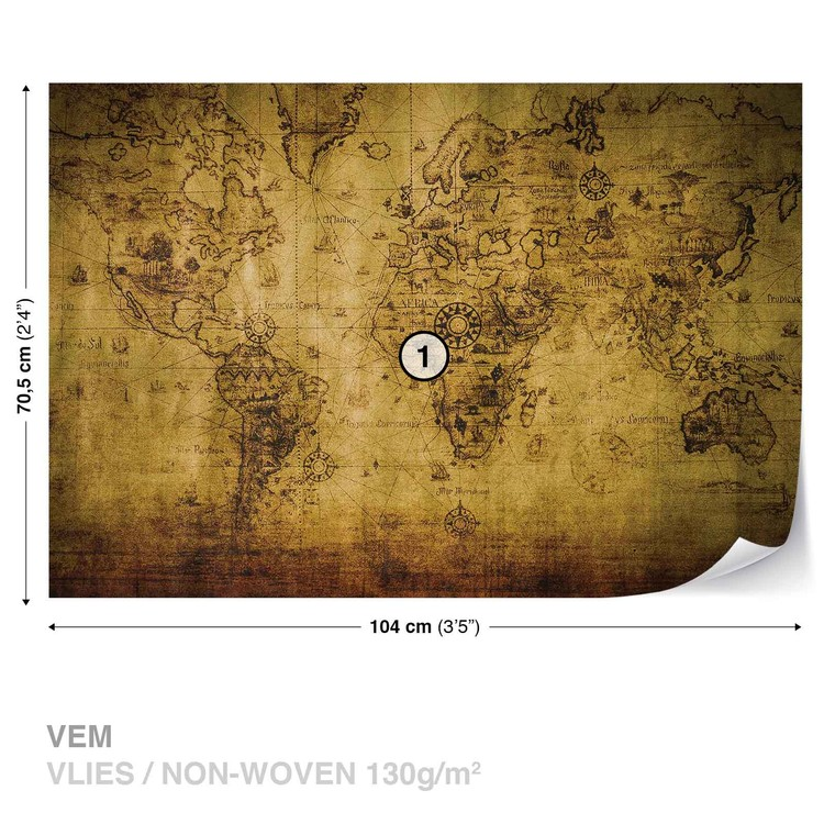 Fototapeta Vintage, Sépie, Mapa světa