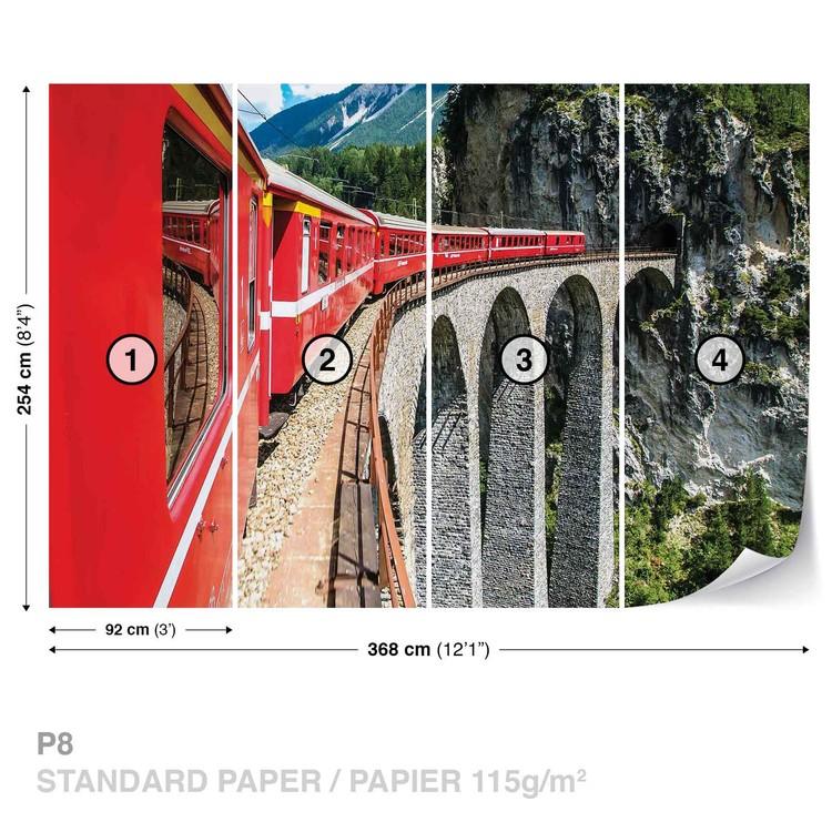 Fototapeta  Vlak na mostě, hory