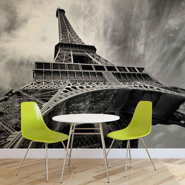 Wieża Eiffla w Paryżu Czarna Biała Fototapeta