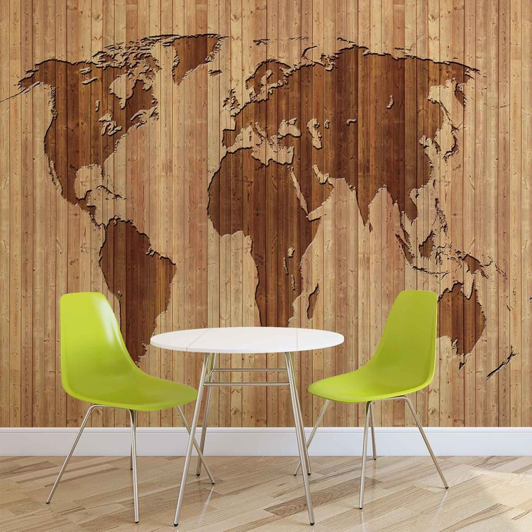 Fototapeta World Map Wood