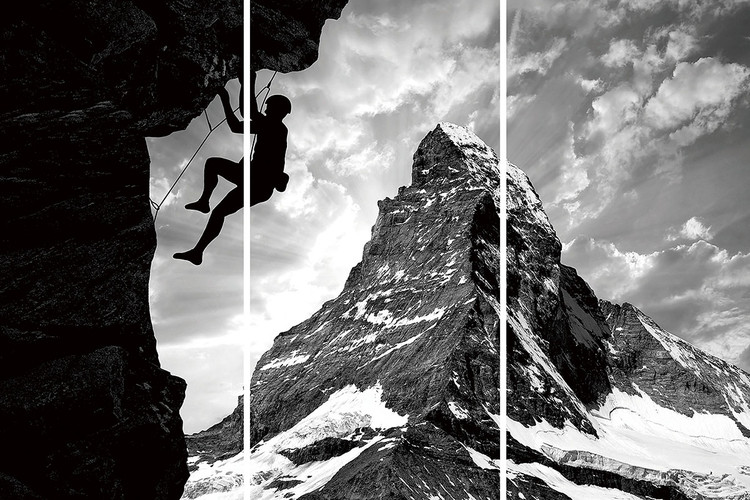 Glasbilder  Be Brave - Climb the Mountain