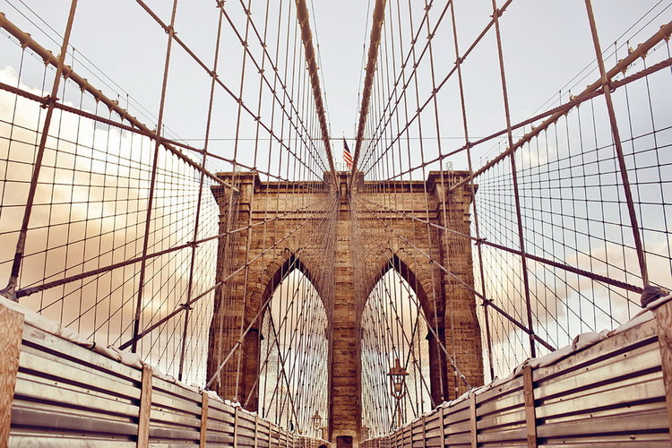 Glasbilder Brooklyn Bridge - Old Style, New York