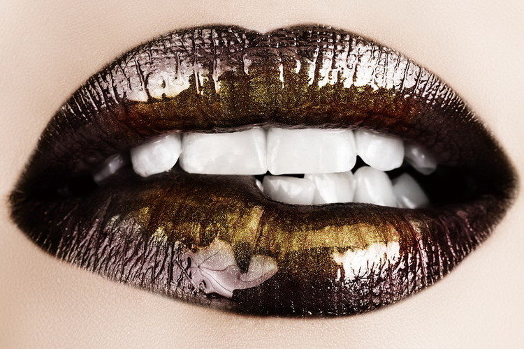 Glasbilder Brown Lips - Need
