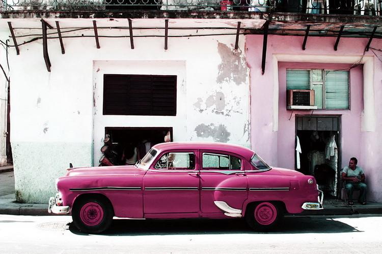 Glasbilder Cars - Pink Cadillac