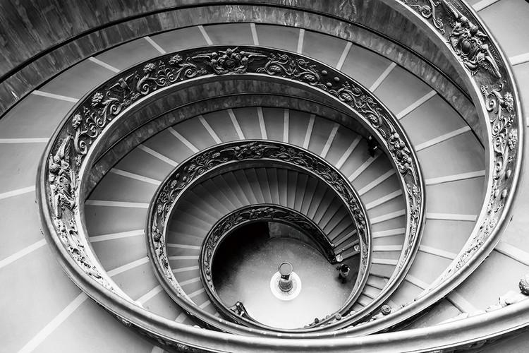 Glasbilder City - Black and White Stairs