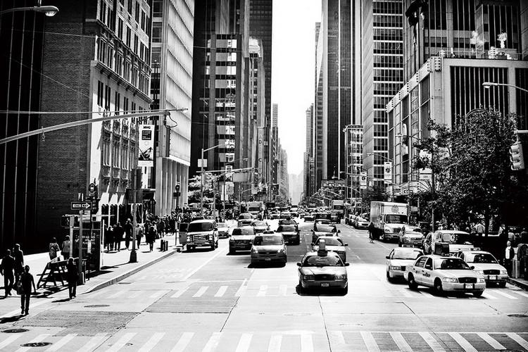 Glasbilder CIty - Black and White Street