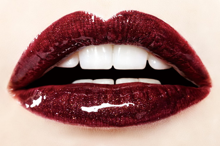 Glasbilder Dark Red Lips - Passion