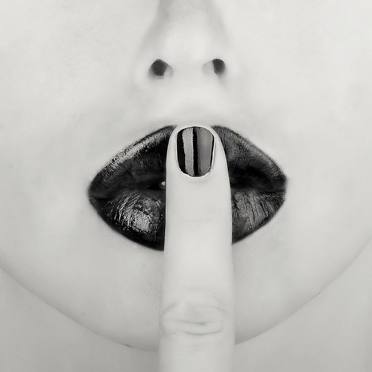 Glasbilder Lips - Shhh