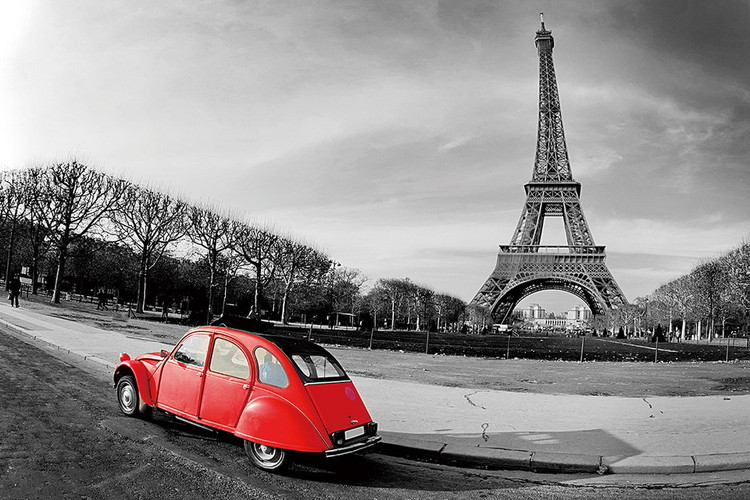 Glasbilder Paris - Red Car b&w