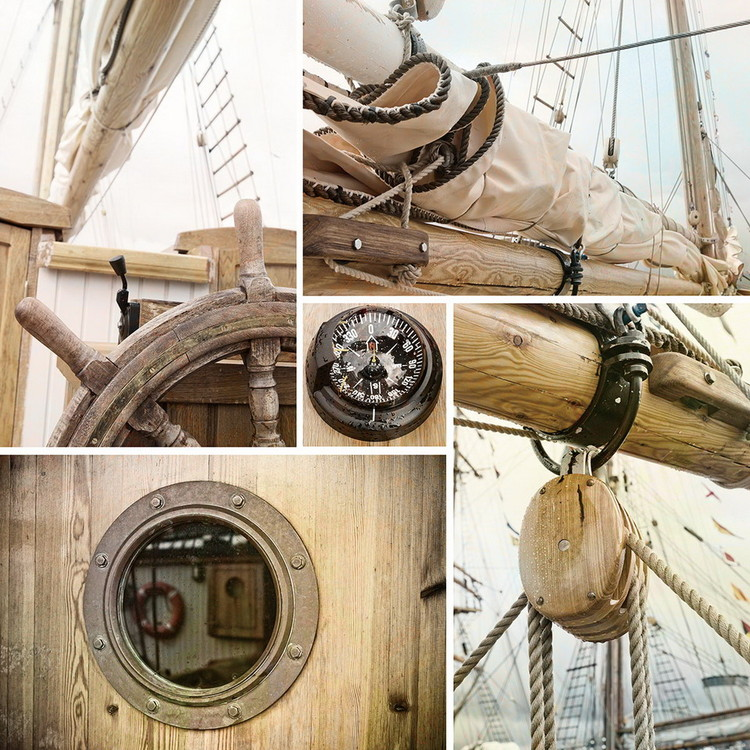 Glasbilder Sailing Boat - Collage 2