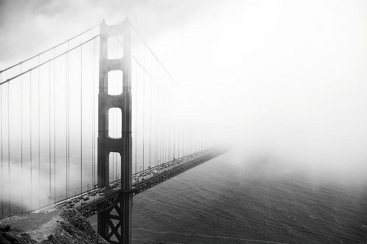Glasbilder San Francisco - Golden Gate in Mist