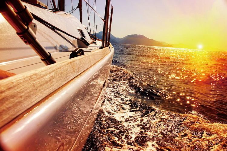 Glasbilder Sea - Boat on the Sunny Sea
