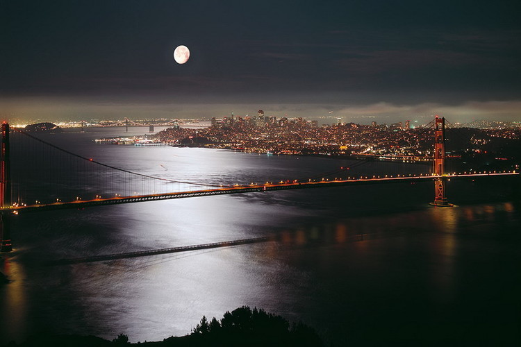 Glasbilder View of San Francisco at Night
