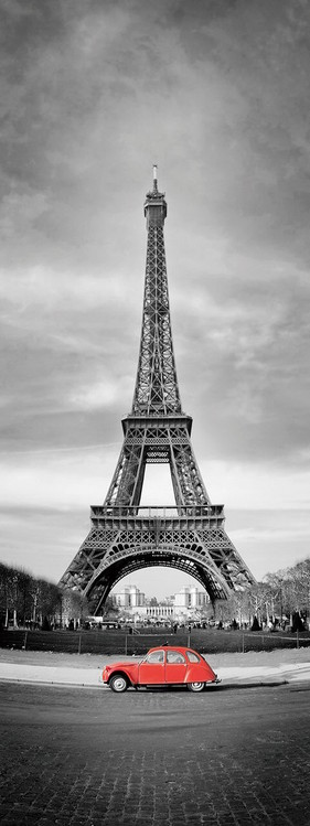 Принт стъкло Paris - Red Car