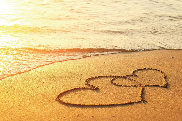 Принт стъкло Sea - Hearts in the Sand
