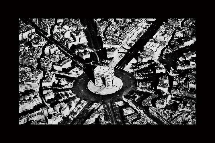Glasschilderij City - Black and White