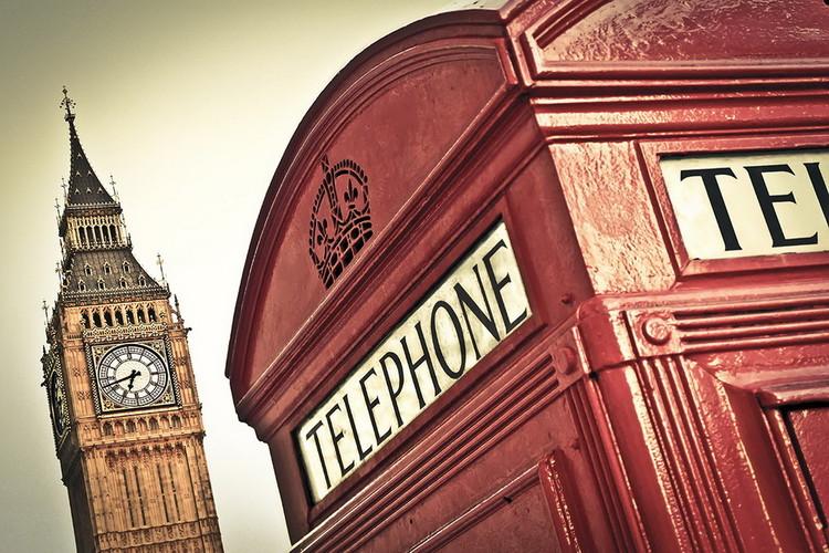 Glasschilderij London - Big Ben and Red Telephone Box