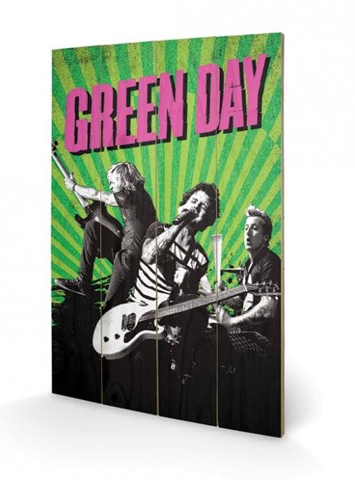 Bild auf Holz Green Day - Uno! Dos! Tre!