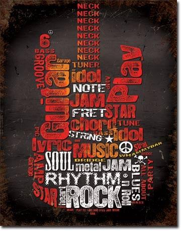 Guitar Inspiration Metalen Wandplaat