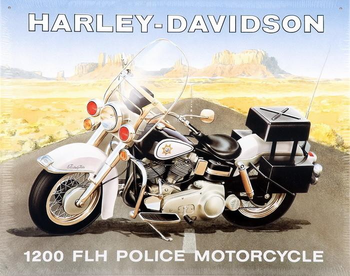 HARLEY POLICE Metalen Wandplaat