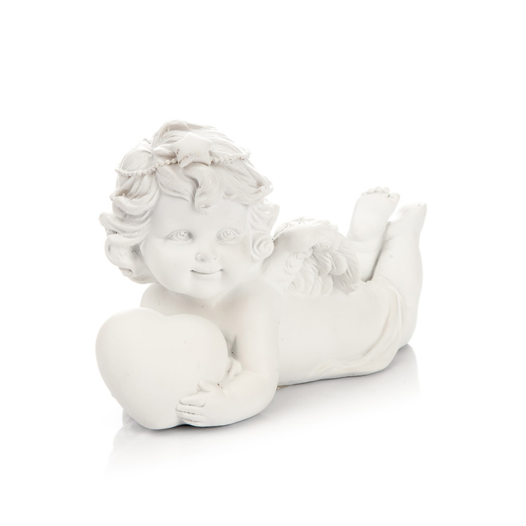 Angel Lying on Stomach with Heart, 9 cm Heimdekoration