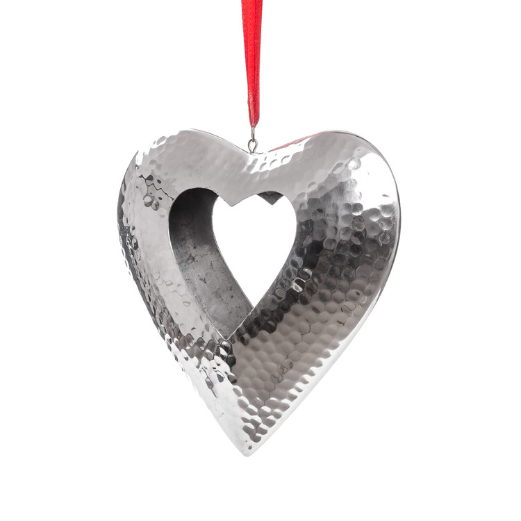 Hanging Candle Holder Heart Silver 23 cm Heimdekoration