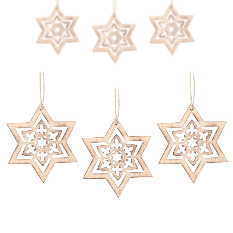 Hanging Wooden Snowflake, 15 cm, set of 6 pcs Heimdekoration