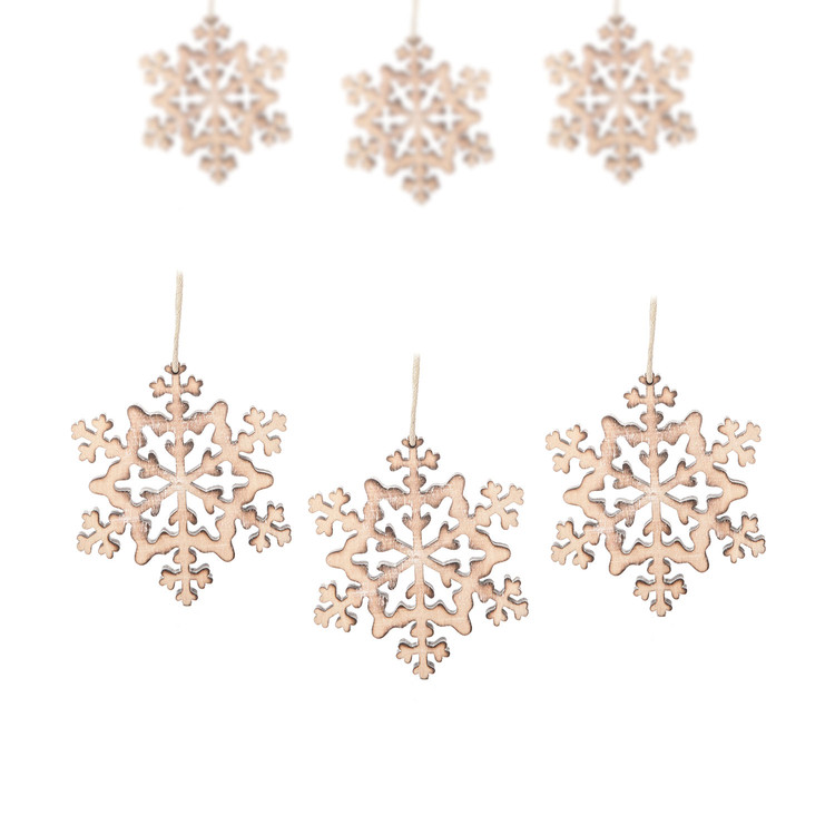 Hanging Wooden Snowflake, 8 cm, set of 6 pcs Heimdekoration