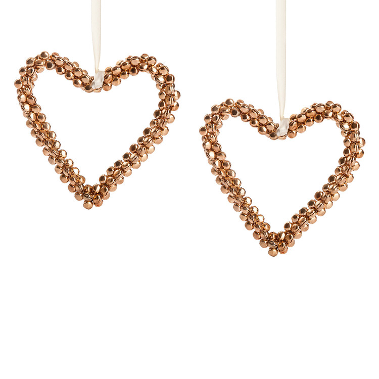 Heart with Gold Bells, 15 cm, set of 2 pcs Heimdekoration