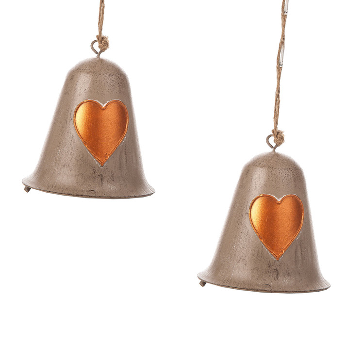 Metal Bell Bronze Heart, 10 cm, set of 2 pcs Heimdekoration