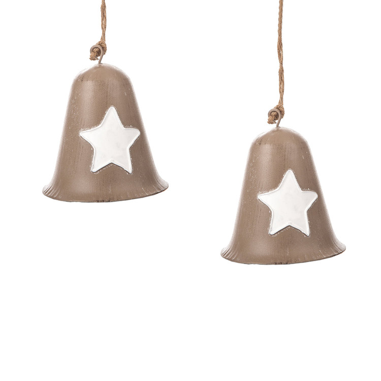 Metal Bell White Star, 10 cm, set of 2 pcs Heimdekoration