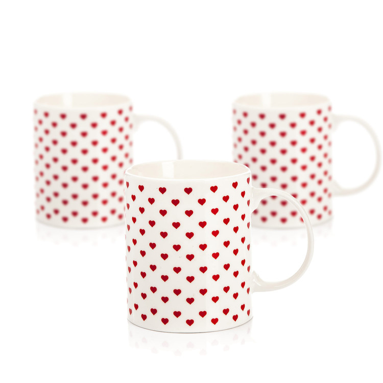 Mug Retro Heart 350 ml, set of 3 pcs Heimdekoration