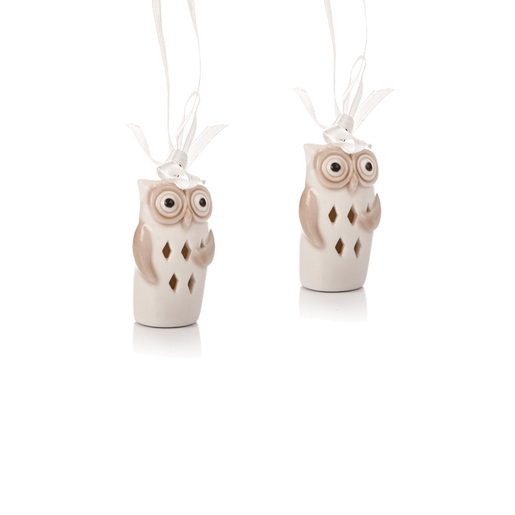 Porcelain Owl, 6 cm, set of 2 pcs Heimdekoration