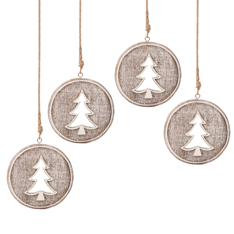 Wooden Christmas Decoration Tree Faded Paint, 8 cm, set of 4 pcs Heimdekoration