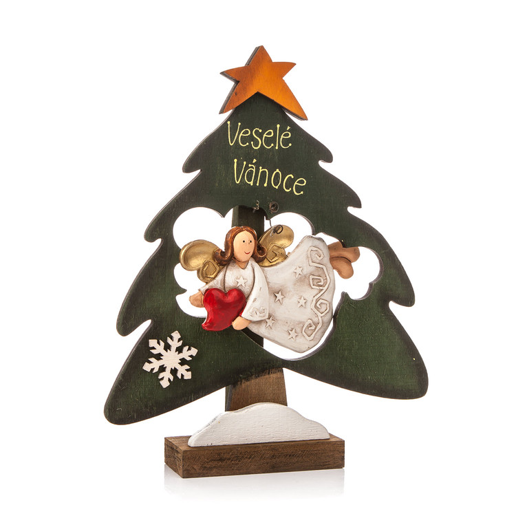 Wooden Christmas Tree with Flying Angel and Heart, 22 cm Heimdekoration