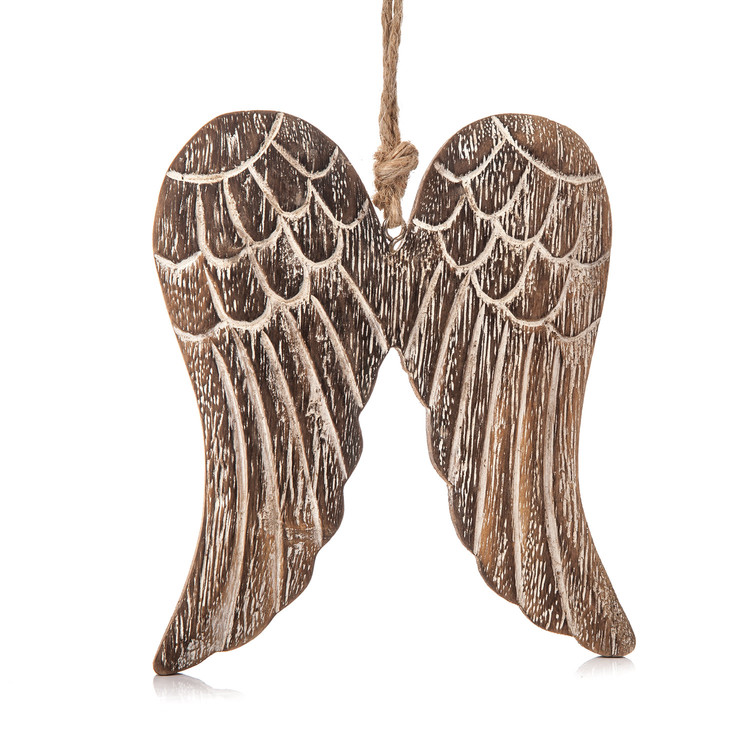 Angel Wings Wooden Hanging Decoration, 13 cm Heminredning