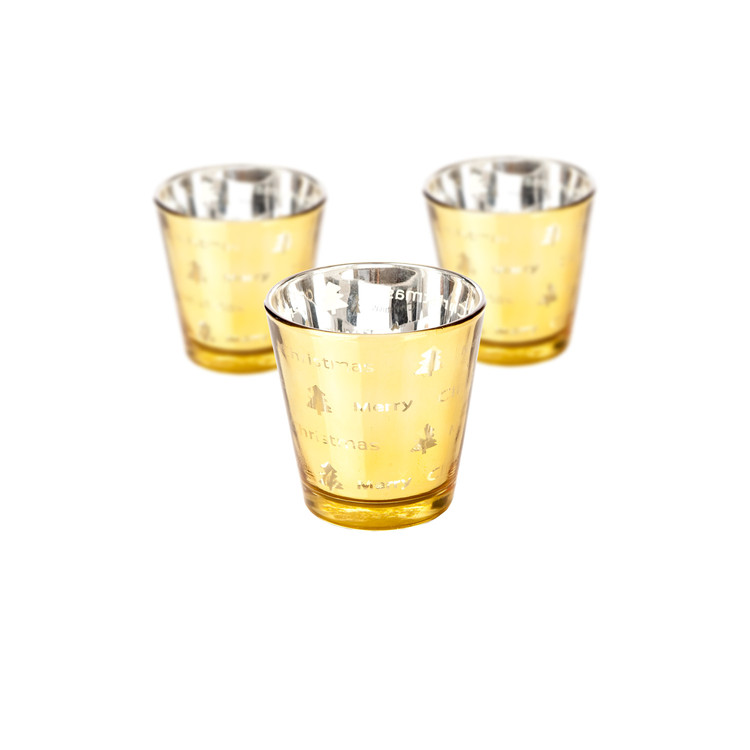 Candle Holder Narrow Merry Xmas Gold 17cm, set of 3 pcs Heminredning