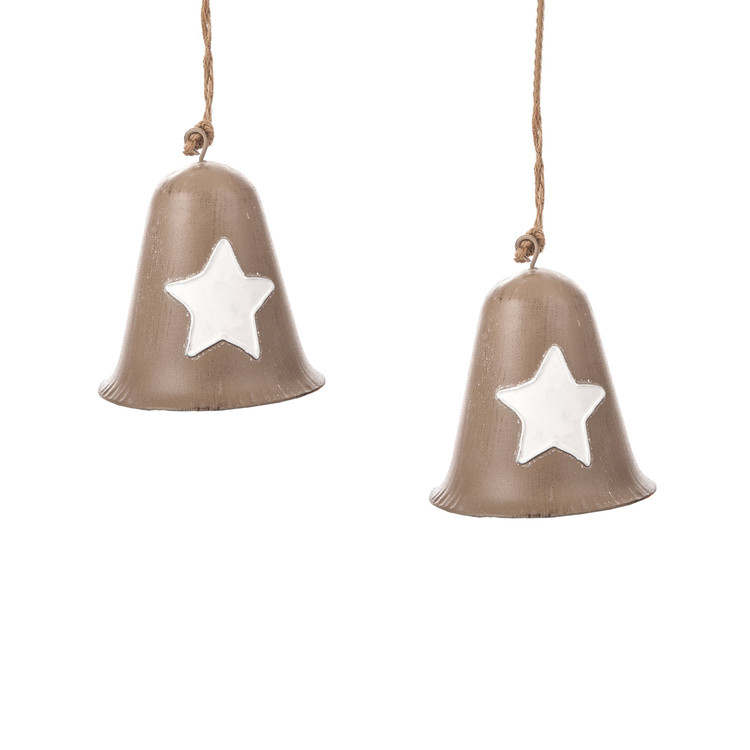 Metal Bell White Star, 8 cm, set of 2 pcs Heminredning
