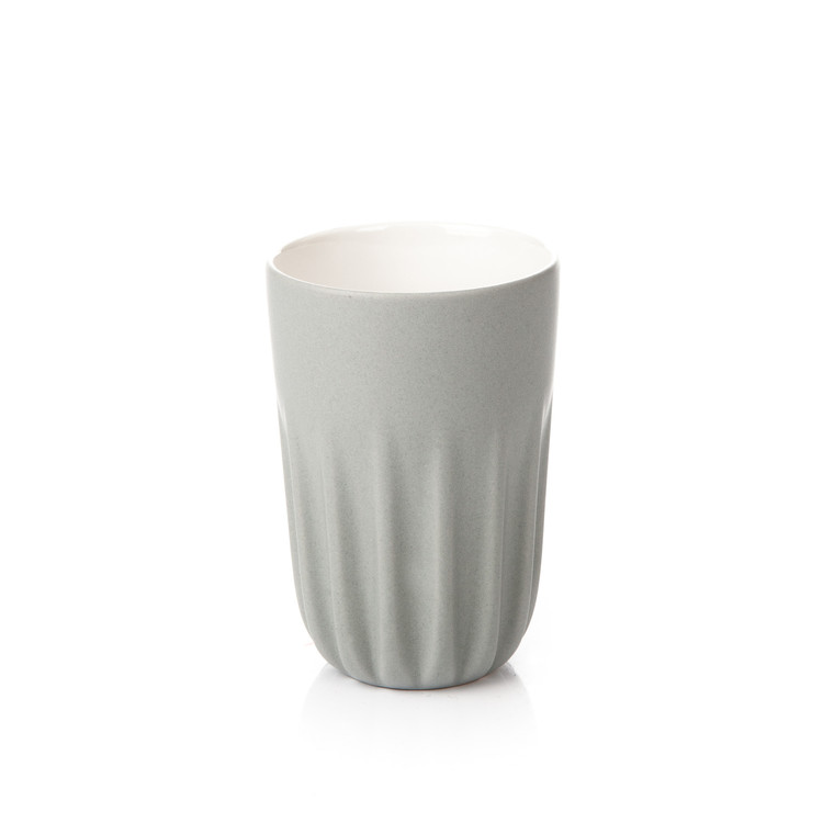 Mug Ribbed Tall, Matte Light Gray 300 ml Heminredning