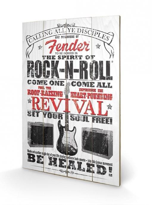Fender - The Spirit of Rock n' Roll kunst op hout