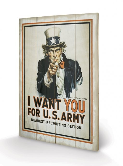I Want You - Uncle Sam kunst op hout